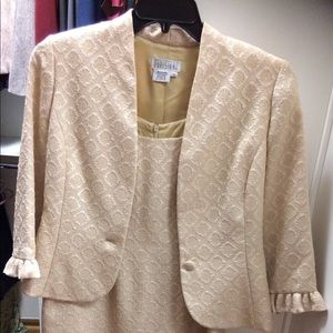 Parisian golden sheath dress with matching jacket
